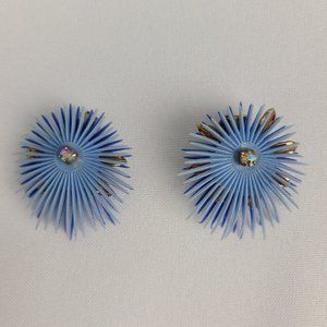 Vintage Blue Feathered Flower Plastic Clip On Earrings